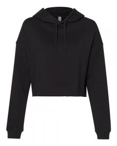 Black Women's Lightweight Cropped Hooded Sweatshirt
