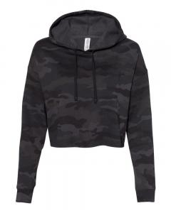Black Camo Women's Lightweight Cropped Hooded Sweatshirt