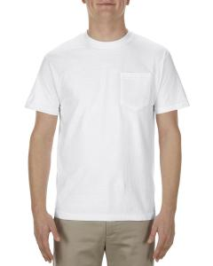 White Adult 6 oz. 100% Cotton Pocket T-Shirt