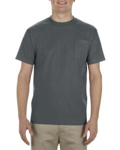 Charcoal Adult 6 oz. 100% Cotton Pocket T-Shirt