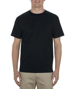 Black Adult 6 oz. 100% Cotton Pocket T-Shirt