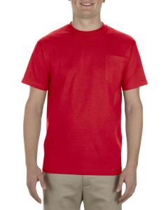 Red Adult 6 oz. 100% Cotton Pocket T-Shirt