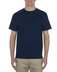 Navy Adult 6 oz. 100% Cotton Pocket T-Shirt