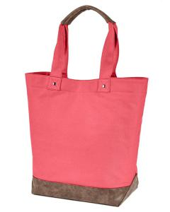Hibiscus/ Brown Canvas Resort Tote
