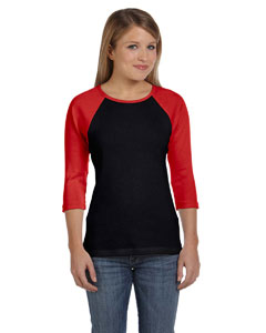 Black/red Women's Baby Rib 3/4-Sleeve Contrast Raglan T-Shirt