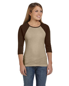 Tan/chocolate Women's Baby Rib 3/4-Sleeve Contrast Raglan T-Shirt