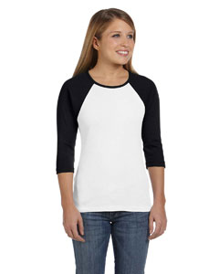 White/black Women's Baby Rib 3/4-Sleeve Contrast Raglan T-Shirt