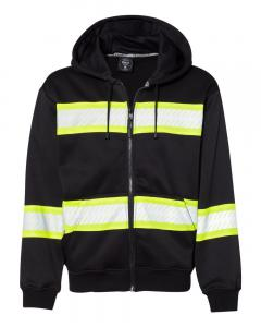 Black/ Lime Enhanced Visibility Full-Zip Hooded Sweatshirt