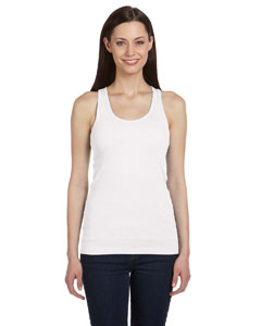 White Women's 2x1 Rib Racerback Longer Length Tank