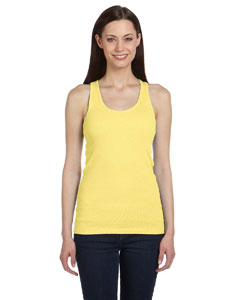 Yellow Women's 2x1 Rib Racerback Longer Length Tank