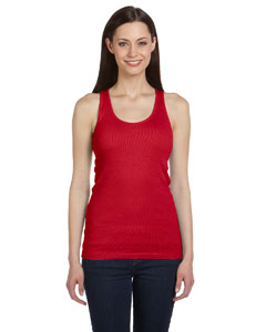 Red Women's 2x1 Rib Racerback Longer Length Tank