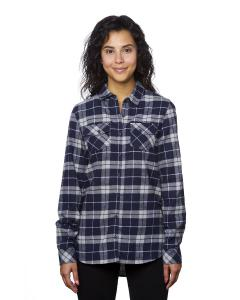 Navy/ Grey Ladies' Plaid Boyfriend Flannel Shirt