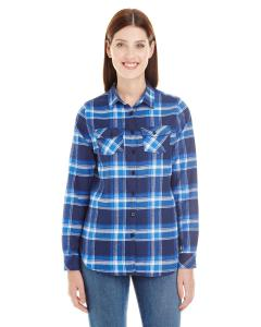 Blue/ White Ladies' Plaid Boyfriend Flannel Shirt