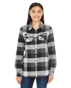 Black Ladies' Plaid Boyfriend Flannel Shirt