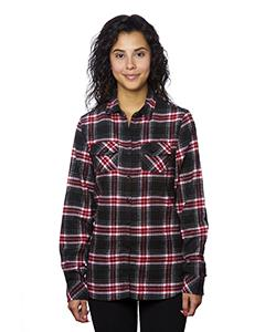 Red Ladies' Plaid Boyfriend Flannel Shirt