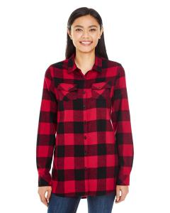 Red/ Black Ladies' Plaid Boyfriend Flannel Shirt