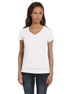White Women's Jersey Short-Sleeve V-Neck T-Shirt