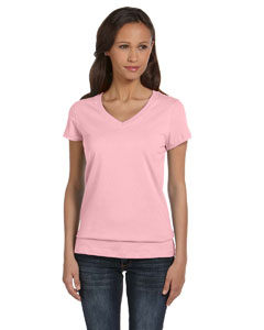 Pink Women's Jersey Short-Sleeve V-Neck T-Shirt
