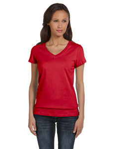 Red Women's Jersey Short-Sleeve V-Neck T-Shirt