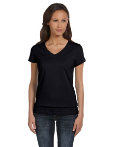 Black Women's Jersey Short-Sleeve V-Neck T-Shirt