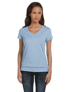 Baby Blue Women's Jersey Short-Sleeve V-Neck T-Shirt