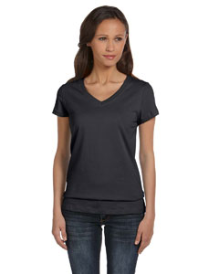 Dk Gry Heather Women's Jersey Short-Sleeve V-Neck T-Shirt