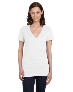 White Women's Jersey Short-Sleeve Deep V-Neck T-Shirt