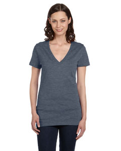 Deep Heather Women's Jersey Short-Sleeve Deep V-Neck T-Shirt
