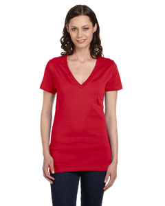 Red Women's Jersey Short-Sleeve Deep V-Neck T-Shirt