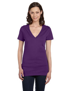 Team Purple Women's Jersey Short-Sleeve Deep V-Neck T-Shirt