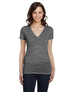 Charcoal Marble Women's Jersey Short-Sleeve Deep V-Neck T-Shirt