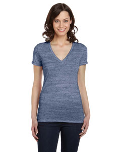 Navy Marble Women's Jersey Short-Sleeve Deep V-Neck T-Shirt