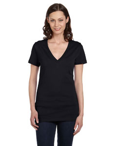 Black Women's Jersey Short-Sleeve Deep V-Neck T-Shirt