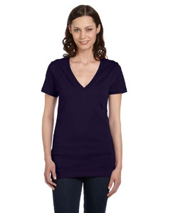 Navy Women's Jersey Short-Sleeve Deep V-Neck T-Shirt