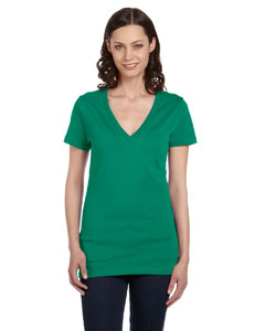 Kelly Women's Jersey Short-Sleeve Deep V-Neck T-Shirt