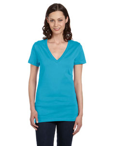 Turquoise Women's Jersey Short-Sleeve Deep V-Neck T-Shirt