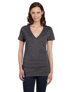Dark Grey Heather Women's Jersey Short-Sleeve Deep V-Neck T-Shirt