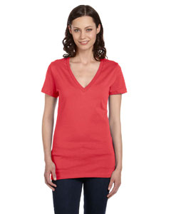Coral Women's Jersey Short-Sleeve Deep V-Neck T-Shirt