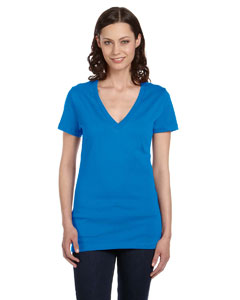 Neon Blue Women's Jersey Short-Sleeve Deep V-Neck T-Shirt
