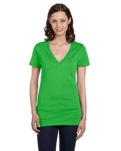 Neon Green Women's Jersey Short-Sleeve Deep V-Neck T-Shirt