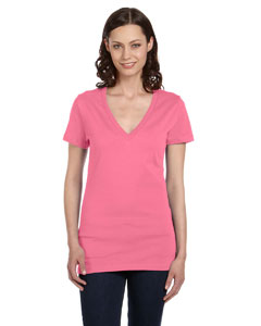 Neon Pink Women's Jersey Short-Sleeve Deep V-Neck T-Shirt