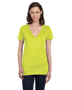 Neon Yellow Women's Jersey Short-Sleeve Deep V-Neck T-Shirt