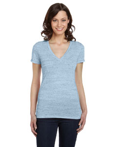 Blue Marble Women's Jersey Short-Sleeve Deep V-Neck T-Shirt