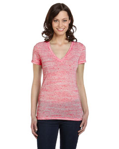 Red Marble Women's Jersey Short-Sleeve Deep V-Neck T-Shirt