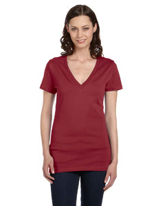 Maroon Marble Women's Jersey Short-Sleeve Deep V-Neck T-Shirt