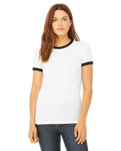 White/ Black Women's Heather Jersey Short-Sleeve Ringer T-Shirt