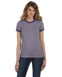 Hthr Purple/purple Women's Heather Jersey Short-Sleeve Ringer T-Shirt