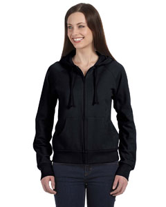 Black Women's Fleece Full-Zip Raglan Hoodie