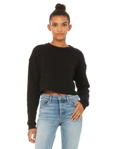 Black Ladies' Cropped Fleece Crew