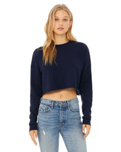 Navy Ladies' Cropped Fleece Crew